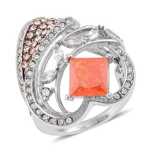 Jewelry - Simulated Orange Diamond, Austrian Crystal ring